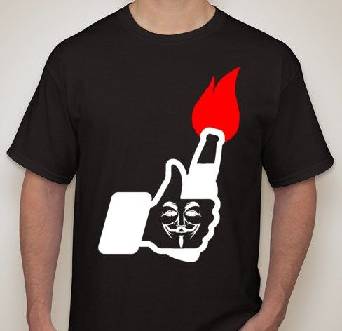 Anonymous Facebook Molotov Like Red Flame T-shirt