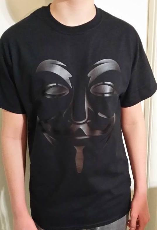 Anonymous Fawkes Tactical Black on Black T-shirt