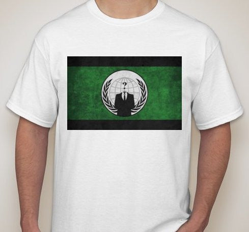 Anonymous Crest Green & Black Flag T-shirt