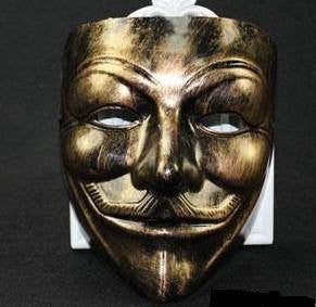 Anonymous Antique Gold Color Guy Fawkes Mask