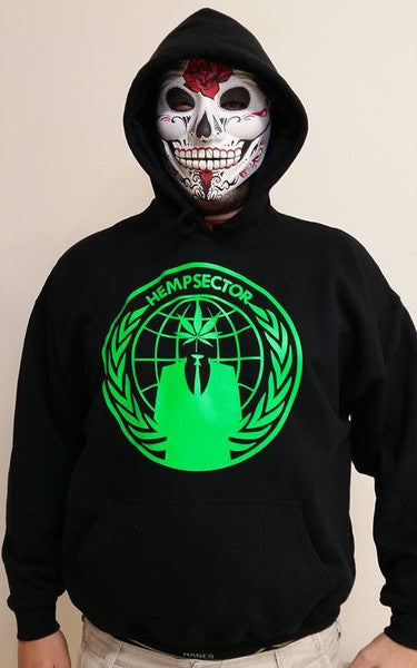 Anonymous Hempsector Green Art Cannabis Disobey Hoodie