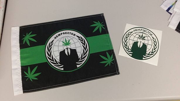 "Hempsector 15x12"" Mini Flag & 5.5"" Die Cut Sticker Combo Weed Leaf"