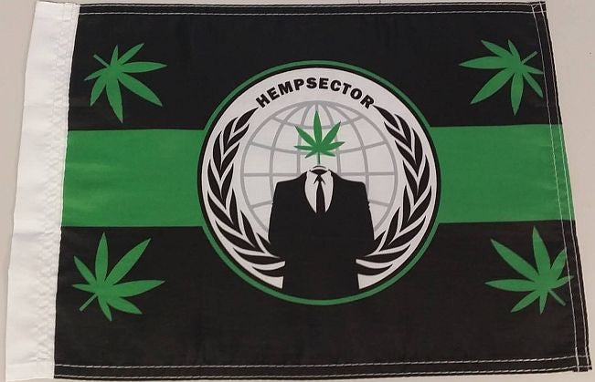 "Anonymous Hempsector Weed Leaf 15x12"" Mini Flag"