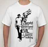 Anonymous Holding Gun The World Will Not Be Destroyed By Evil T-shirt