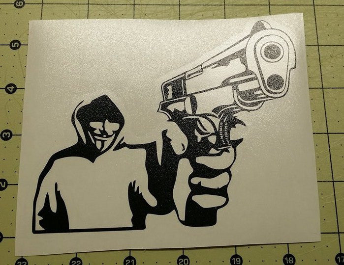 Anonymous In Hoodie With Gun | Die Cut Vinyl Sticker Decal