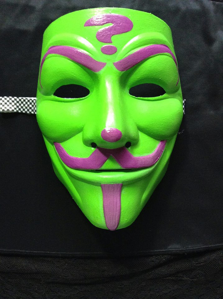 Anonymous Insane Clown Posse ICP Riddler Purple On Green Custom Mask Hand Painted Guy Fawkes