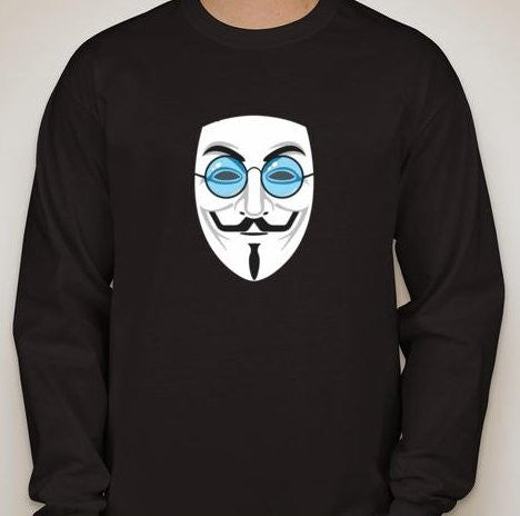 Anonymous John Lennon Mask With Blue Glasses Long Sleeve T-shirt