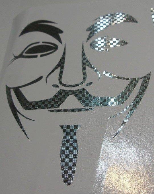 Anonymous Mask Carbon Fiber Chrome Variation | Die Cut Vinyl Sticker Decal