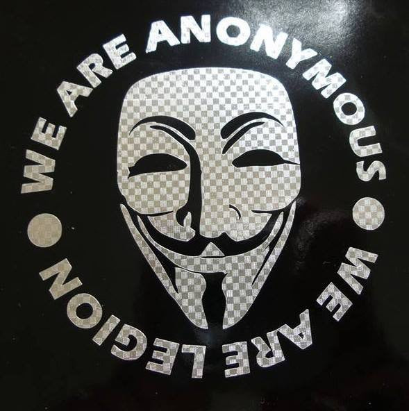 Anonymous Mask Credo Carbon Fiber Chrome | Die Cut Vinyl Sticker Decal
