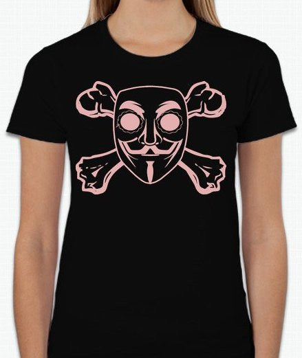 Anonymous Pink Mask Crossbones T-shirt