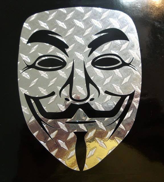 Anonymous Mask Diamond Plate Chrome | Die Cut Vinyl Sticker Decal