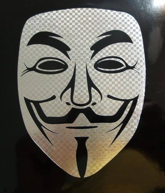 Anonymous Mask Carbon Fiber Chrome | Die Cut Vinyl Sticker Decal