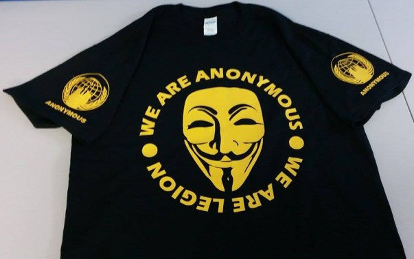 Anonymous Mask We Are Legion Yellow Art Guy Fawkes T-shirt With Crest Sleeve Logos