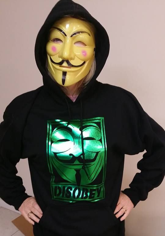 Anonymous Disobey Metallic Green Art Hoodie
