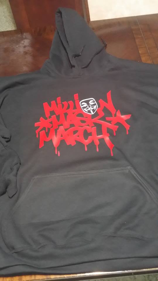 Anonymous Million Mask March Graffiti Red Text White Mask Hoodie