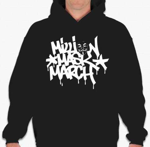 Anonymous Million Mask March Graffiti Hoodie