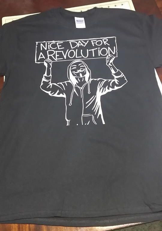 Anonymous Nice Day For Revolution T-shirt Variation