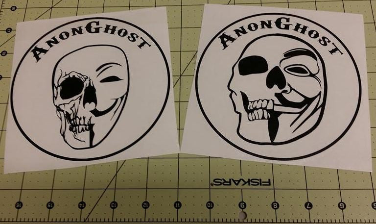 Anonymous Operation GhostSec Skull AnonGhost Lot Of 2 | Die Cut Vinyl Sticker Decal