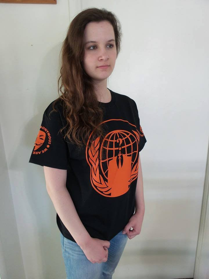 Anonymous Orange Crest Art With Mask Sleeve Logos T-shirt