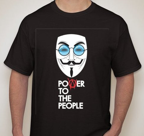 Anonymous John Lennon Power To The People White Mask Blue Glasses T-shirt
