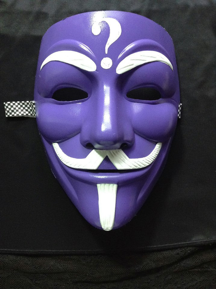 Anonymous Riddler White On Purple Custom Mask Hand Painted Guy Fawkes