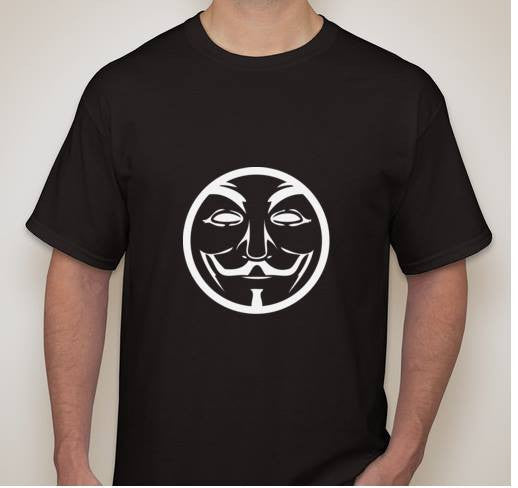 Anonymous Round White Stencil Mask T-shirt
