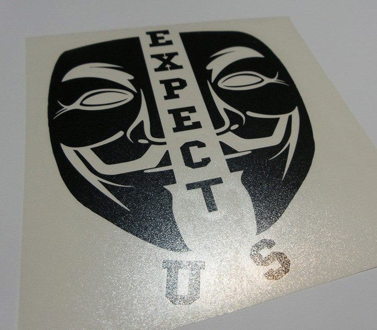 Anonymous Split Mask Expect Us Variation | Die Cut Vinyl Sticker Decal
