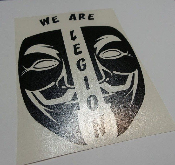 Anonymous Split Mask We Are Legion Variation | Die Cut Vinyl Sticker Decal