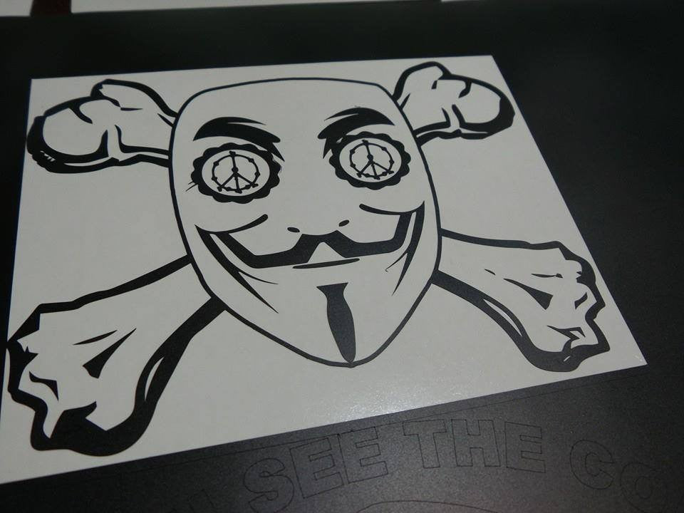 Anonymous Sugar Skull Crossbones Peace | Die Cut Vinyl Sticker Decal