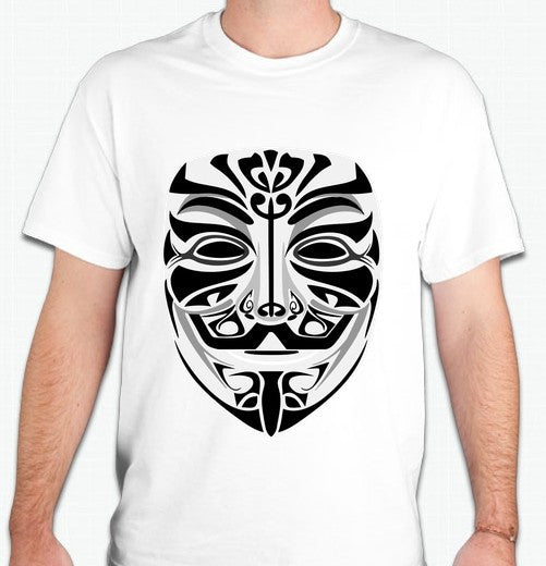 Anonymous Tribal Mask Black Art T-shirt