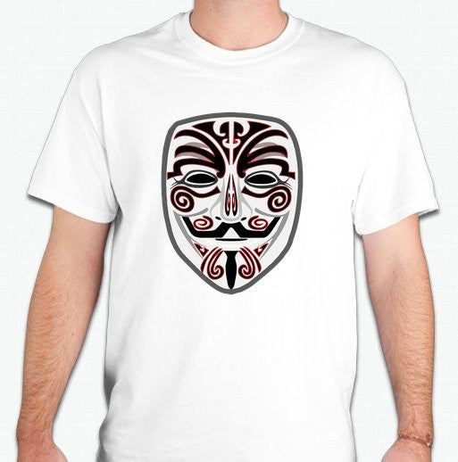Anonymous Tribal Mask Red&Black Art T-shirt