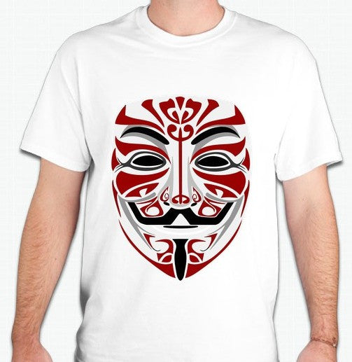 Anonymous Tribal Mask Burgundy Art T-shirt