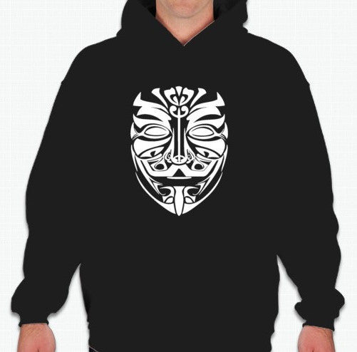 Anonymous Tribal Maori Mask Art Hoodie