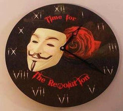 "Anonymous Wall Clock 12"" Vendetta Themed Time For Revolution With Mask, Rose, Dagger  Art"