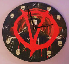 "Anonymous Wall Clock 12"" Vendetta Movie Themed With Guy Fawkes Mask, Dagger Art"