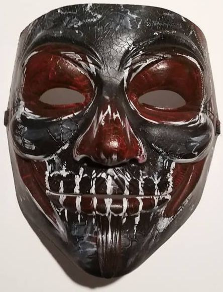 Anonymous Black Voodoo Custom Mask Hand Painted Guy Fawkes
