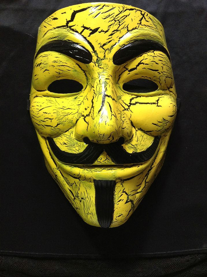 Anonymous Yellow With Black Cracks Custom Mask Hand Painted Guy Fawkes