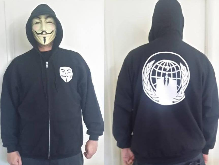 Anonymous Small Mask In Front Anon Crest On Back 2 Sided Full-Zip Hoodie
