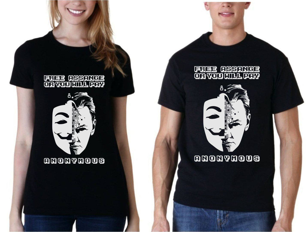 Free Julian Assange or you will pay! Anonymous Wikileaks Hacker t shirt