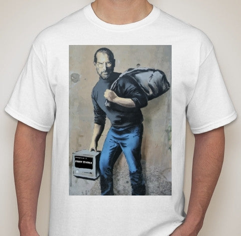 Banksy Steve Jobs As Syrian Refugee Calais Street Art Wall Graffity T-shirt