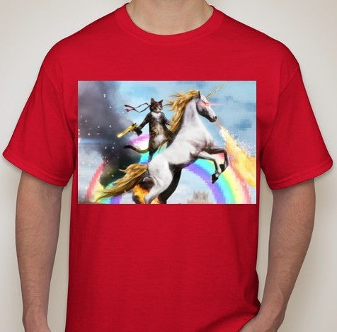 Anon Cat Riding A Fire Breathing Unicorn T-shirt