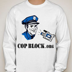 CopBlock Blue Cop Camera URL Long Sleeve T-shirt