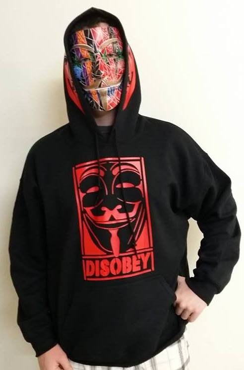 Anonymous Disobey With Red Hood Mask Print Hoodie