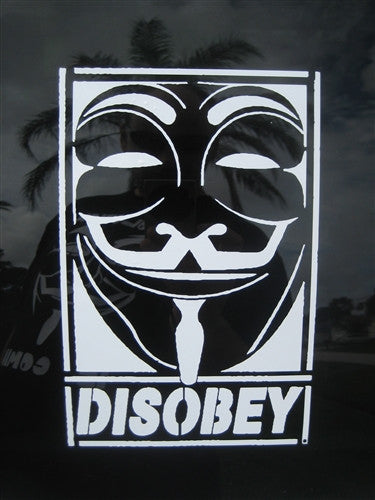 Anonymous Disobey Guy Fawkes Mask | Die Cut Vinyl Sticker Decal
