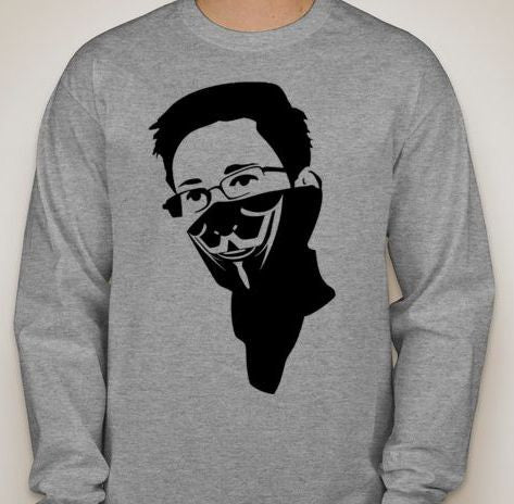 Edward Snowden In Anonymous Bandana Long Sleeve T-shirt