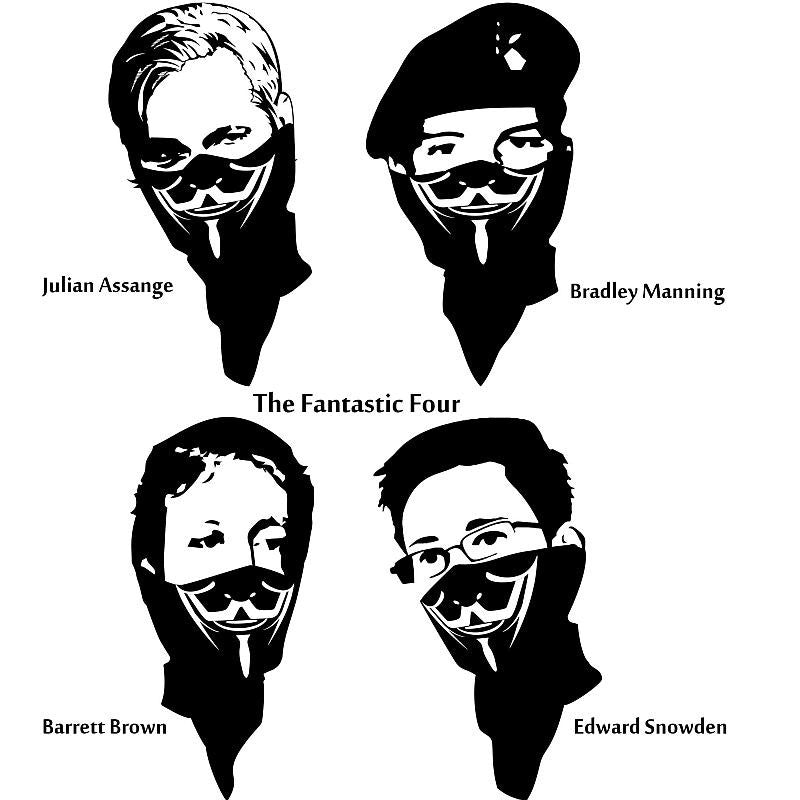 The Fantastic Four Assange Brown Manning Snowden Anonymous | Die Cut Vinyl Sticker Decal