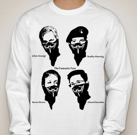 The Fantastic Four Assange Brown Manning Snowden Anonymous Long Sleeve T-shirt | My Anon Store