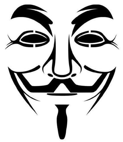 Anonymous Guy Fawkes Mask Die Cut Vinyl Sticker Decal