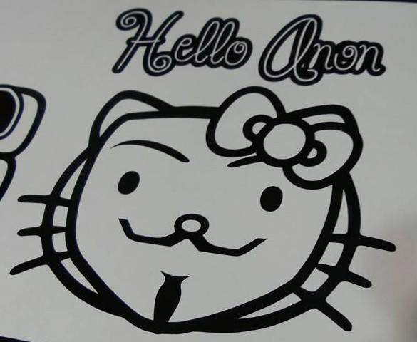 Anonymous Hello Anon Hello Kitty Head | Die Cut Vinyl Sticker Decal