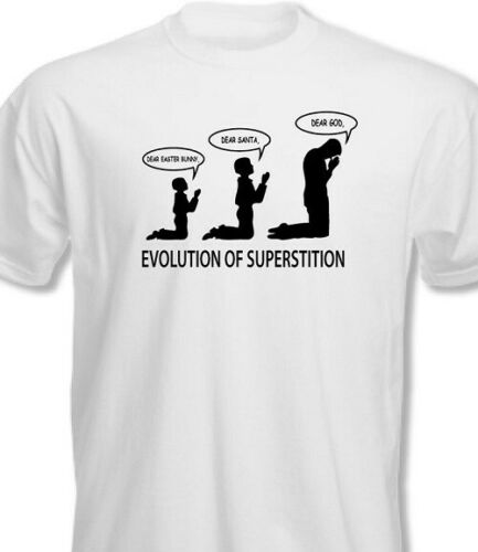 Evolution of Superstition T shirt tee Santa Easter God Atheist anti Religion